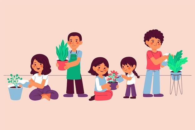 Kreskówka ludzie wspólnie dbają o rośliny