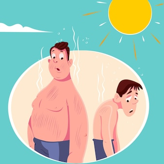 Kreskówka ludzie z ilustracją oparzenia słonecznego