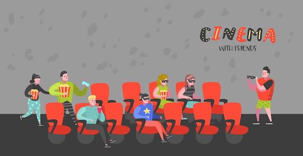Kreskówka ludzie z popcornem i napojami gazowanymi oglądają film na plakacie z miejscami do kina