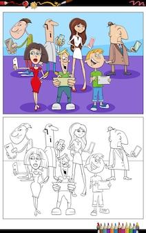 Kreskówka ludzie z telefonami i urządzeniami do kolorowania