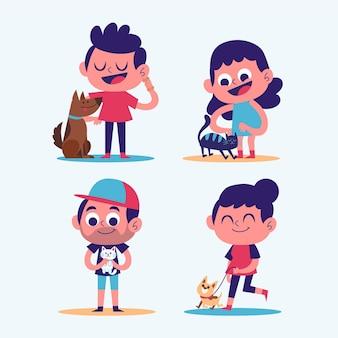 Kreskówka ludzie ze zwierzętami domowymi ilustrowanymi