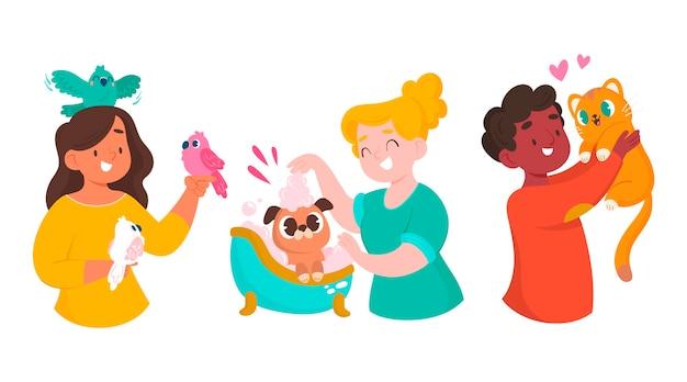 Kreskówka ludzie ze zwierzętami zestaw