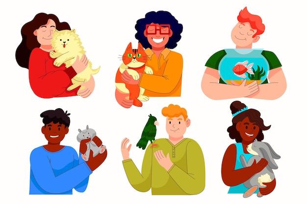 Kreskówka ludzie ze zwierzętami