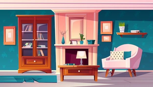Kreskówka luksusowy gabinet z kominkiem i odlewu na ścianie