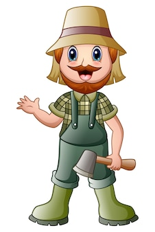 Kreskówka lumberjack trzyma cioski falowanie