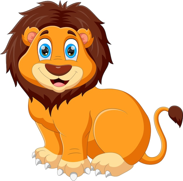 Kreskówka lwiątko pozowanie uśmiechnięte