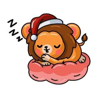 Kreskówka lwica śpi na poduszce
