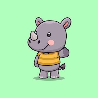 Kreskówka macha ręką ładny nosorożec