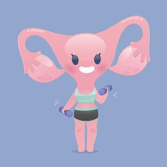Kreskówka macicy w ćwiczeniach odzieży sportowej, podnosząc hantle. słodki zdrowy silny. ilustracja płaski charakter