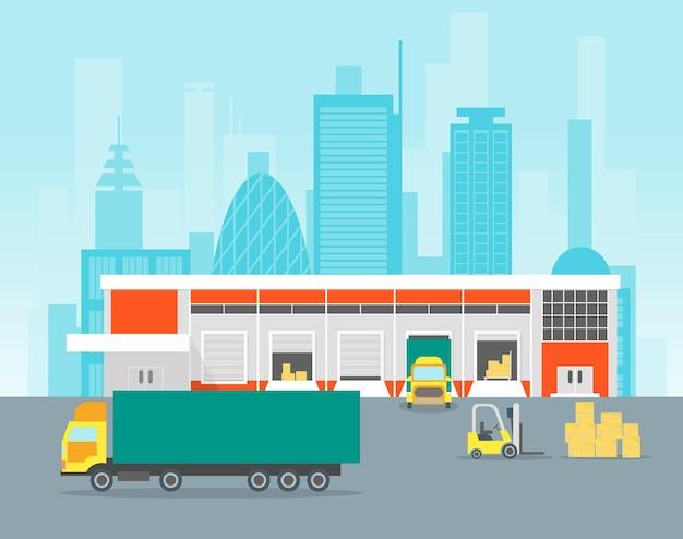 Kreskówka magazyn dystrybucja logistyka magazynowanie i dostawa ładunku architektura miejska projekt płaski. ilustracja wektorowa
