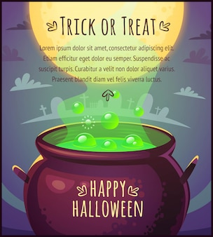 Kreskówka magiczny kocioł pełen mikstury z pływającymi bąbelkami na tle nieba w pełni księżyca happy halloween plakat cukierek albo psikus ilustracja karty z pozdrowieniami