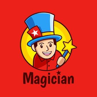 Kreskówka Magik Trzyma Magiczną Różdżkę Projektowanie Logo Premium Wektorów