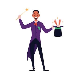 Kreskówka magik z różdżką magicznej sztuczki, trzymając cylinder z wychodzącymi uszami królika. na białym tle człowieka w magicznym kostiumie robi występ cyrkowy.