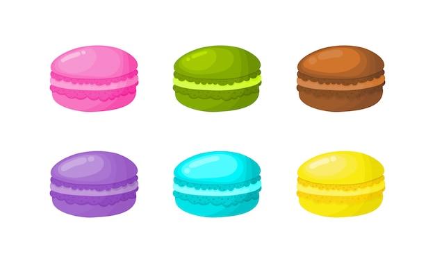 Kreskówka makaronik zestaw do kawiarni lub restauracji. wektor ilustracji.