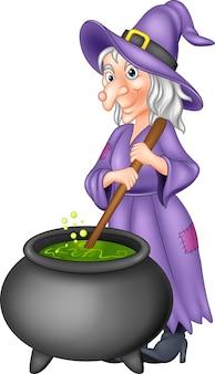 Kreskówka mała czarownica przygotowuje mikstury