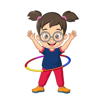 Kreskówka mała dziewczynka gra w hula-hoop