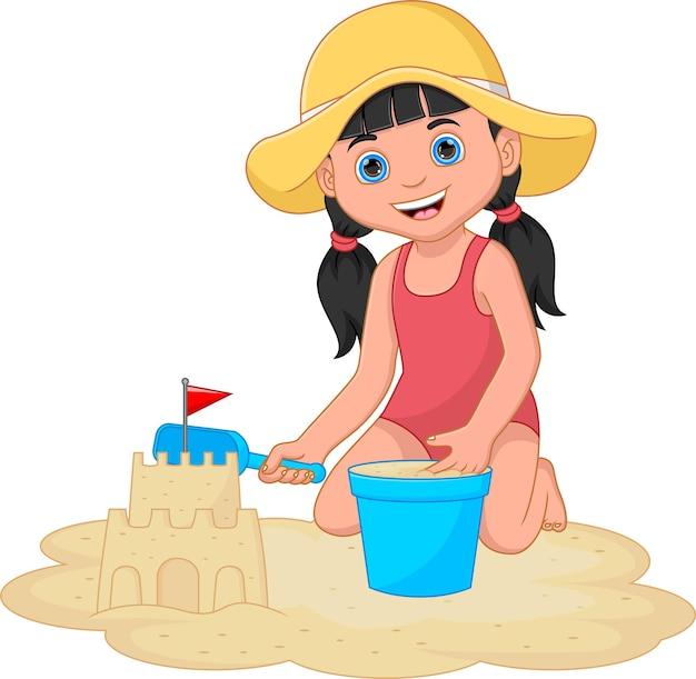 Kreskówka mała dziewczynka gra w piasek