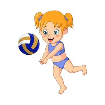 Kreskówka mała dziewczynka gra w siatkówkę plażową