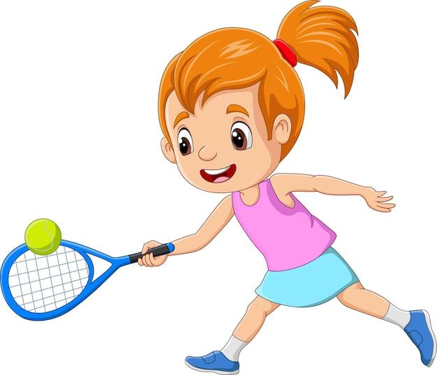Kreskówka mała dziewczynka gra w tenisa