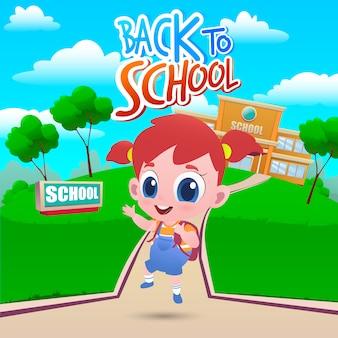 Kreskówka mała dziewczynka idzie do szkoły. witaj z powrotem w szkole