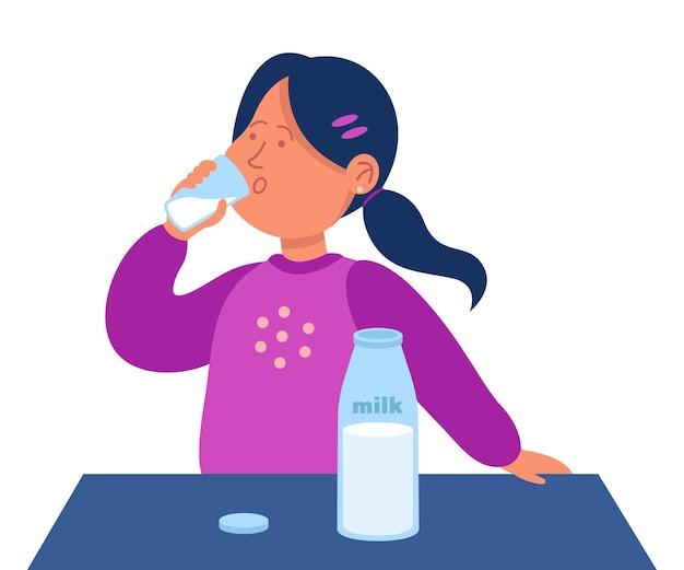Kreskówka mała dziewczynka pije szklankę mleka