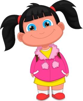 Kreskówka Mała Dziewczynka Poza I Uśmiech Premium Wektorów