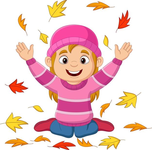 Kreskówka mała dziewczynka rzuca jesienne liście