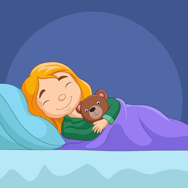 Kreskówka mała dziewczynka śpi z nadziewanym niedźwiedziem