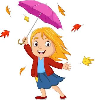 Kreskówka Mała Dziewczynka Z Parasolem I Jesiennymi Liśćmi Premium Wektorów