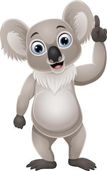 Kreskówka mała koala skierowana w górę