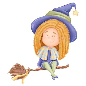 Kreskówka mała śmieszna czerwona wiedźma na miotle. ilustracja halloween dla dzieci.