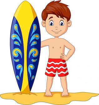 Kreskówka małe dziecko trzymając deskę surfingową