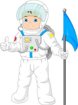 Kreskówka małego chłopca w stroju astronauta