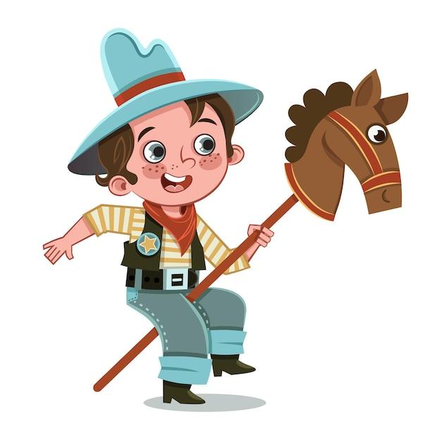 Kreskówka mali chłopcy gra kowbojska ilustracja