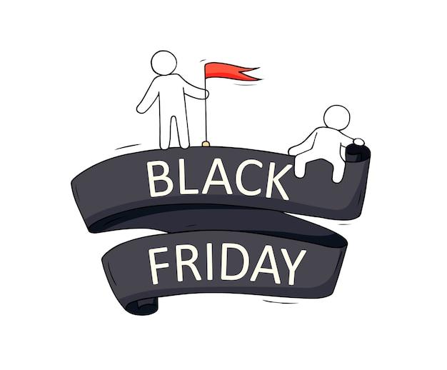 Kreskówka mali ludzie z dużymi słowami czarny piątek. ręcznie rysowane do marketingu, projektowania sprzedaży, etykiety rabatowej.