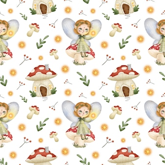 Kreskówka mało leśnych wróżek wzór. bajkowy elf dziewczyna siedzi na grzybie, muchomor.