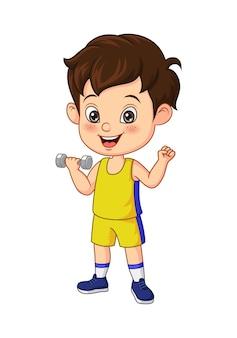 Kreskówka mały chłopiec ćwiczenia z hantlami