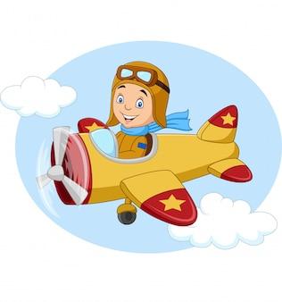 Kreskówka mały chłopiec działa samolot
