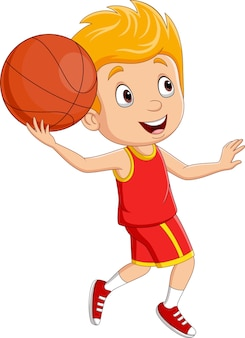 Kreskówka mały chłopiec gra w koszykówkę
