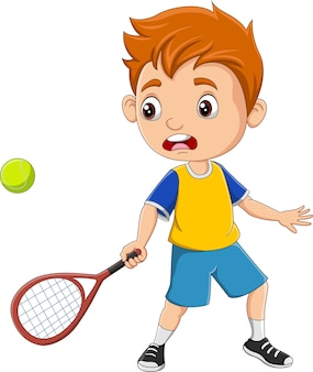 Kreskówka mały chłopiec gra w tenisa
