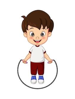 Kreskówka mały chłopiec skakanka na skakankę