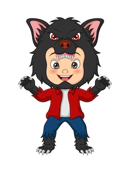 Kreskówka mały chłopiec ubrany w kostium wilkołaka na świętowanie halloween