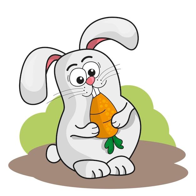 Kreskówka mały królik trzyma pomarańczową marchewkę. ilustracja wektorowa na białym