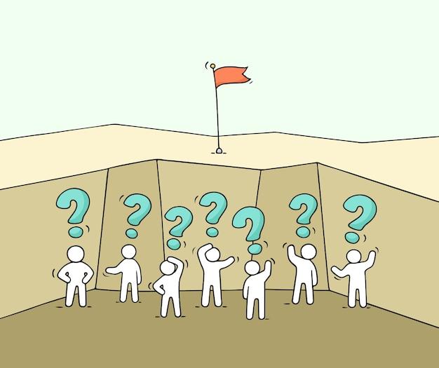 Kreskówka małych ludzi pracujących w otchłani. doodle śliczna miniaturowa scena pracowników ze znakami zapytania. ręcznie rysowane do projektowania biznesowego i plansza.