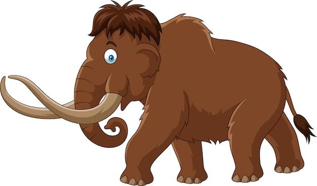 Kreskówka mamut odizolowywający na białym tle
