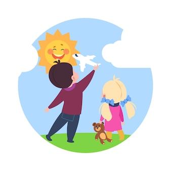 Kreskówka marzycieli, chłopiec i dziewczynka bawiące się na zewnątrz