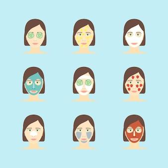 Kreskówka maska na twarz do pielęgnacji skóry zestaw w stylu płaska konstrukcja. zabiegi kosmetyczne lub kosmetyczne w spa. ilustracji wektorowych