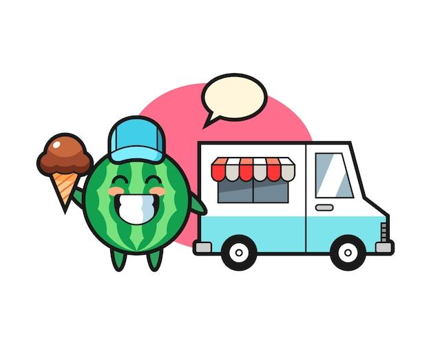 Kreskówka maskotka arbuza z ciężarówką z lodami