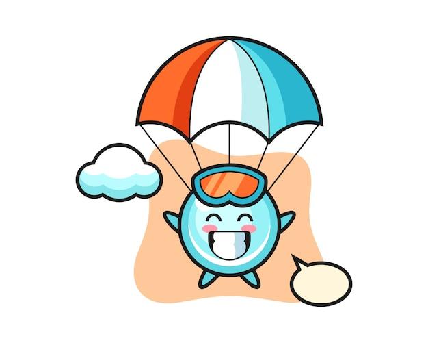 Kreskówka maskotka bąbelkowa skacze ze spadochronem z radosnym gestem, ładny styl