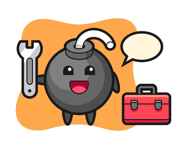 Kreskówka maskotka bomba jako mechanik